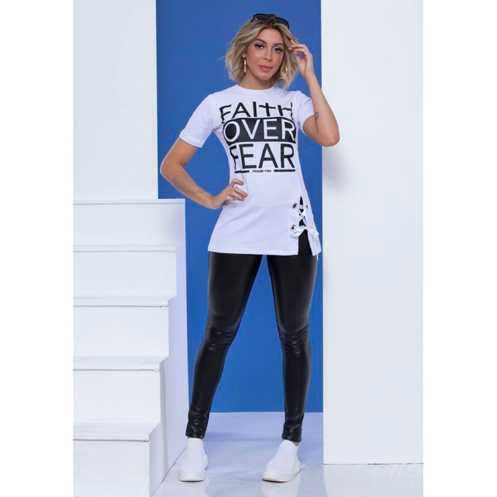 Blusa Feminina Falth Over Fea - branca - Mônica Figueira - Soul da Paz