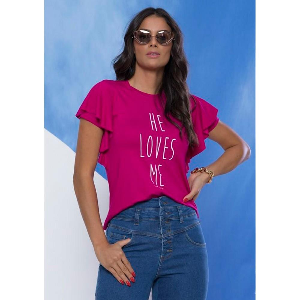 Blusa Feminina He Loves Me - Mônica Figueira - Soul da Paz