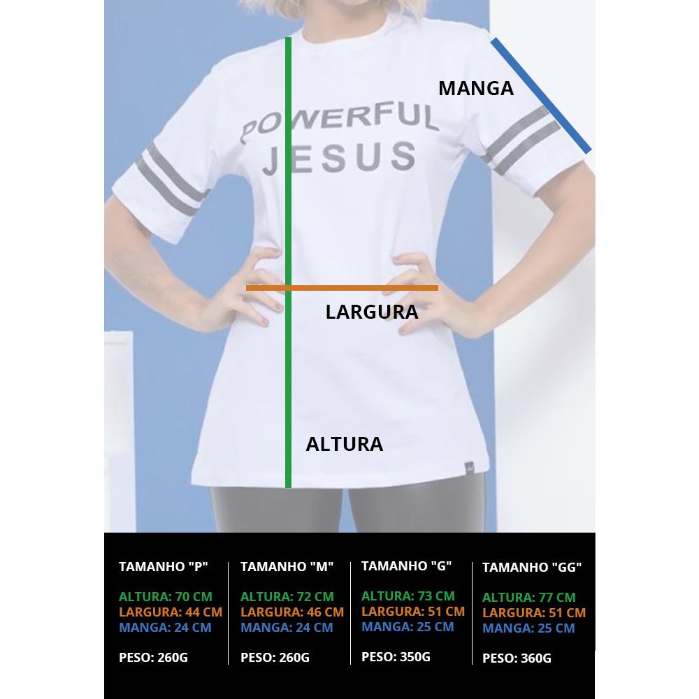 Blusa Feminina Powerful Jesus - Branca - Mônica Figueira - Soul da Paz