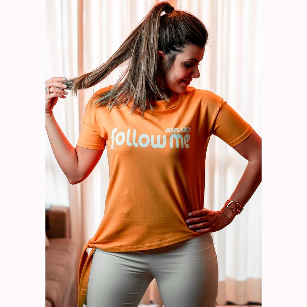 Camiseta Feminina Follow Me Mostarda - Soul da Paz