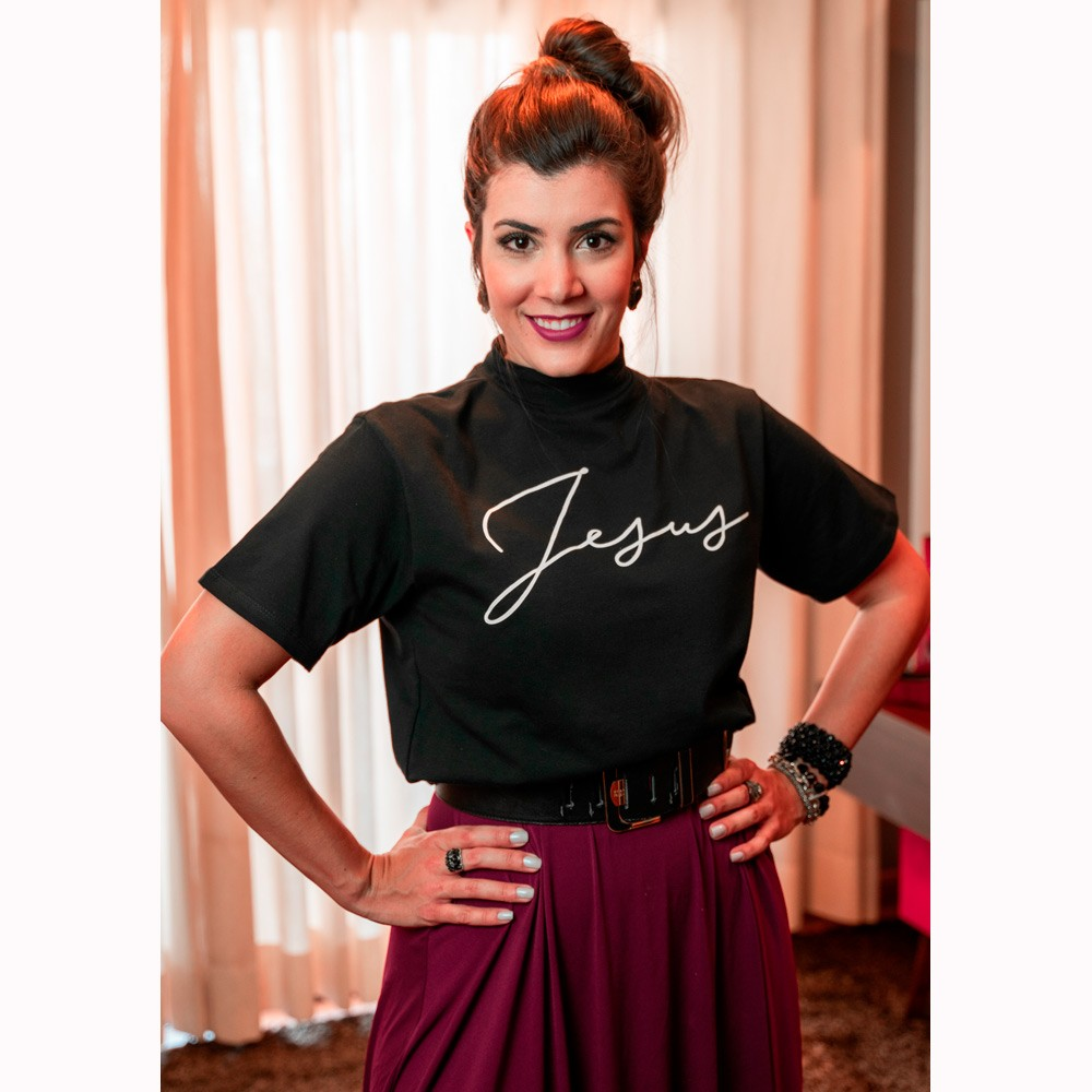 Camiseta Feminina Jesus Gola Alta - Preta - Soul da Paz