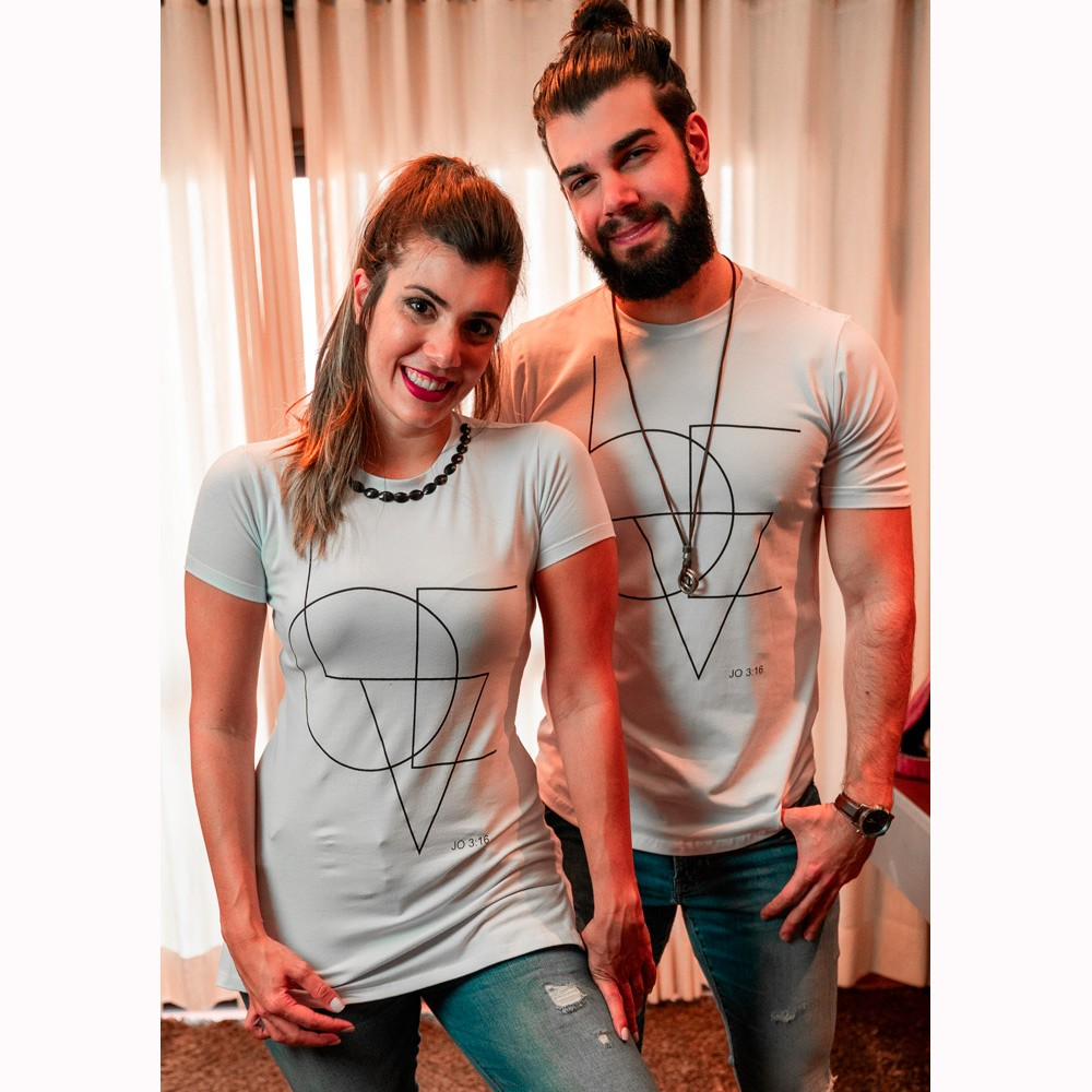 Camiseta Feminina LOVE Branca com Pedras - Soul da Paz