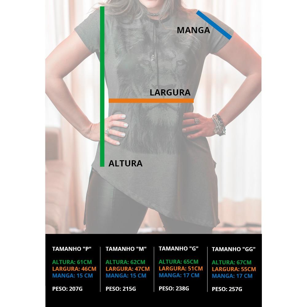 Camiseta Feminina Modelo Leão Cinza - REF SDP001 - Teste NÃO COMPRE