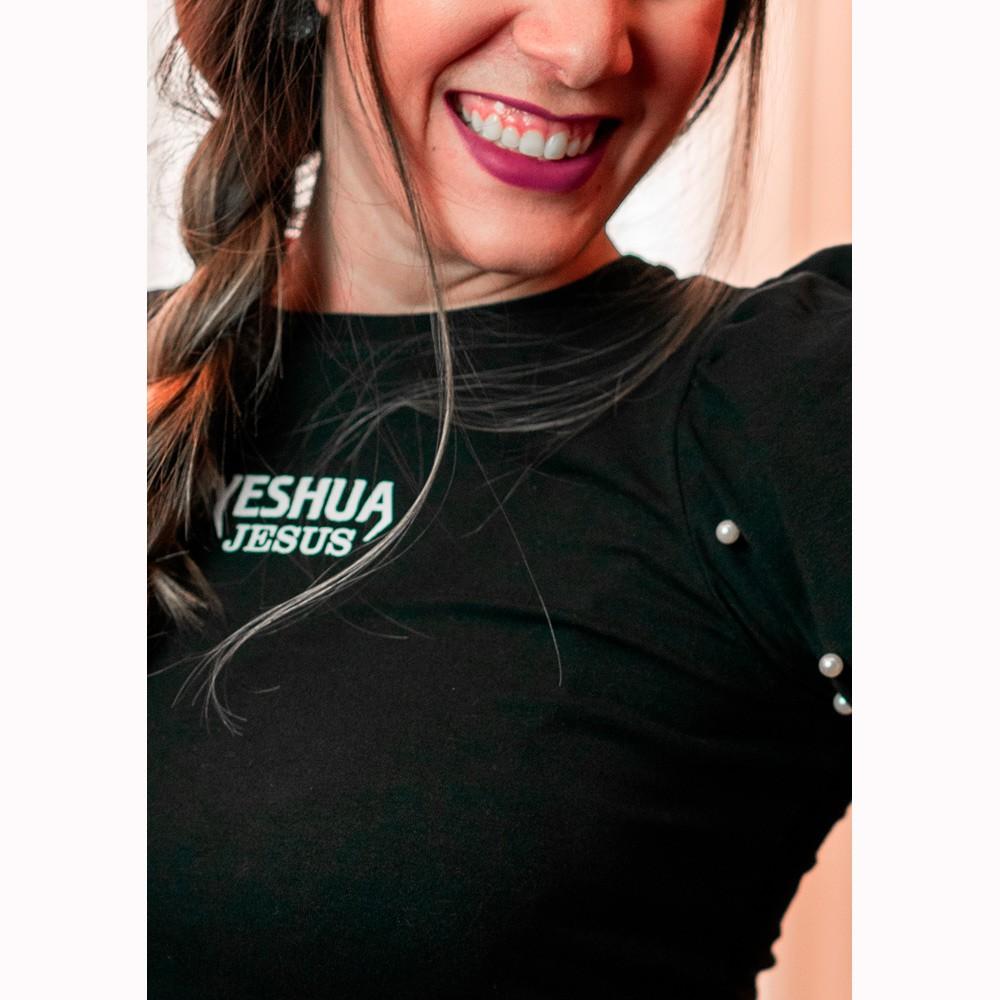 Camiseta Feminina Yeshua Jesus Preta Manga com Pérola - Soul da Paz