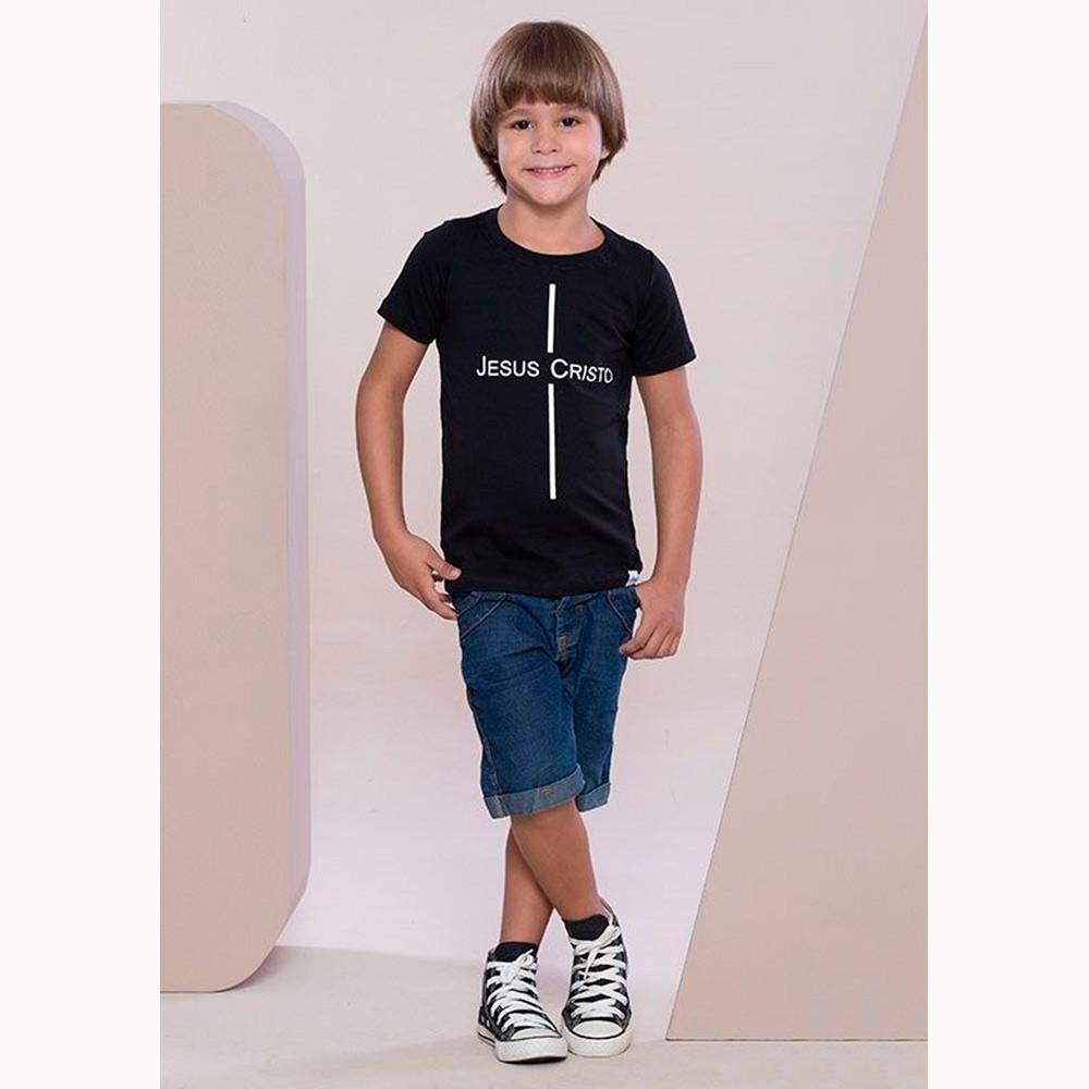 Camiseta Preta Infantil - Jesus Cristo - Soul da Paz