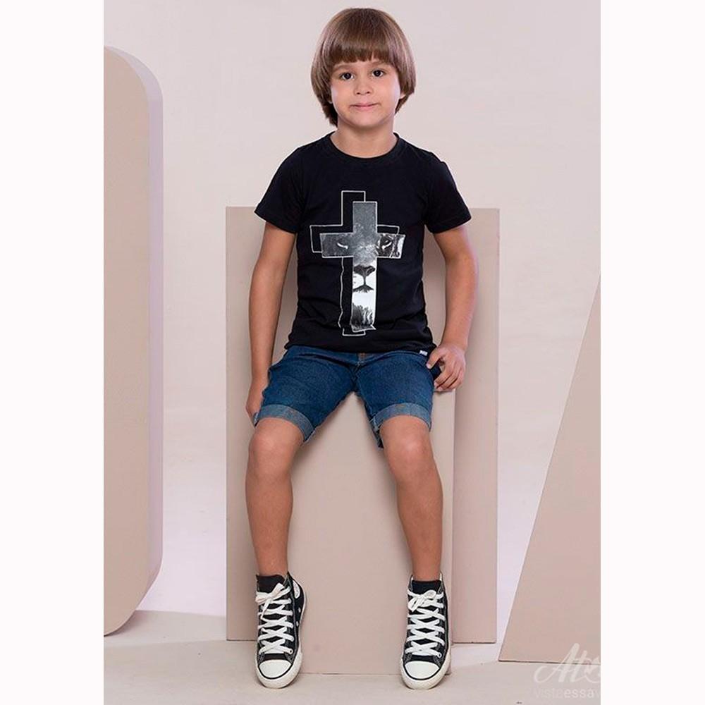 Camiseta Preta Infantil - Leão na Cruz - Soul da Paz