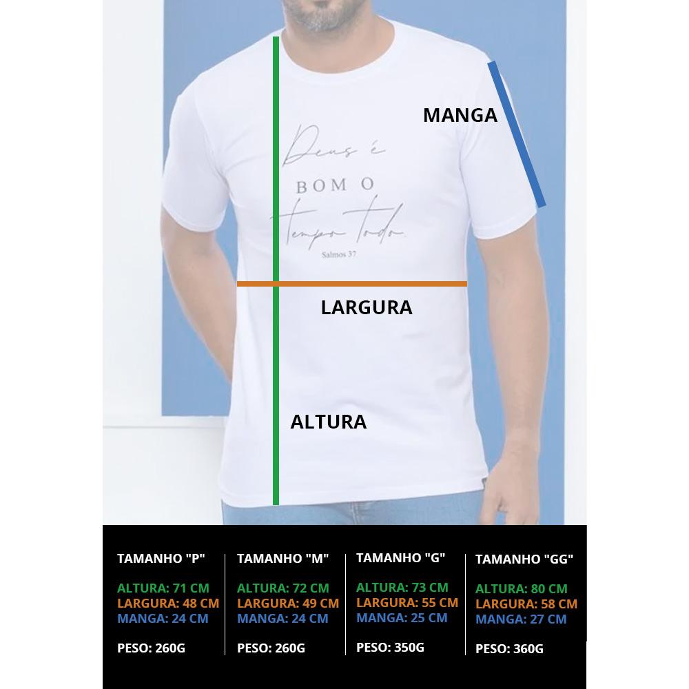 Camiseta Masculina Deus é bom o Tempo Todo - Branca - Soul da Paz