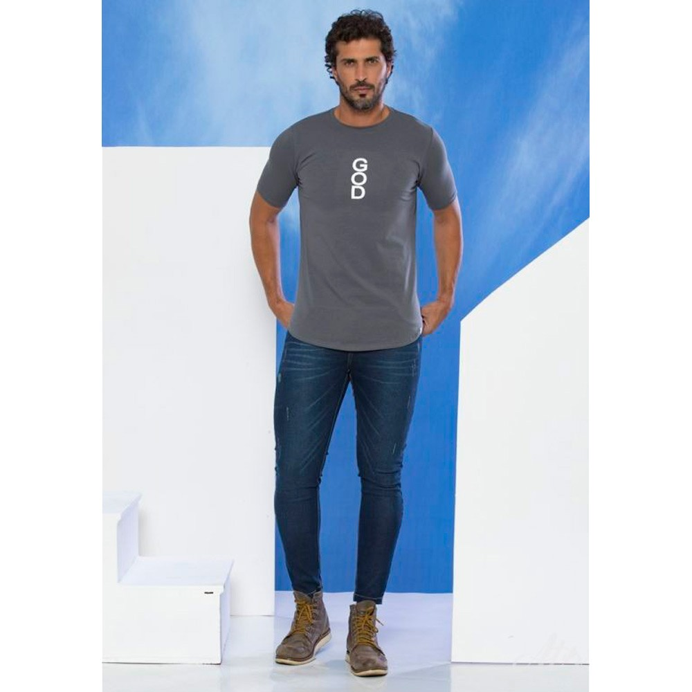 Camiseta Masculina God - Cinza- Soul da Paz