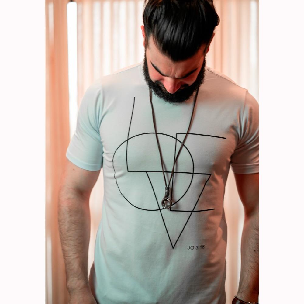 Camiseta Masculina LOVE - Branca - Soul da Paz