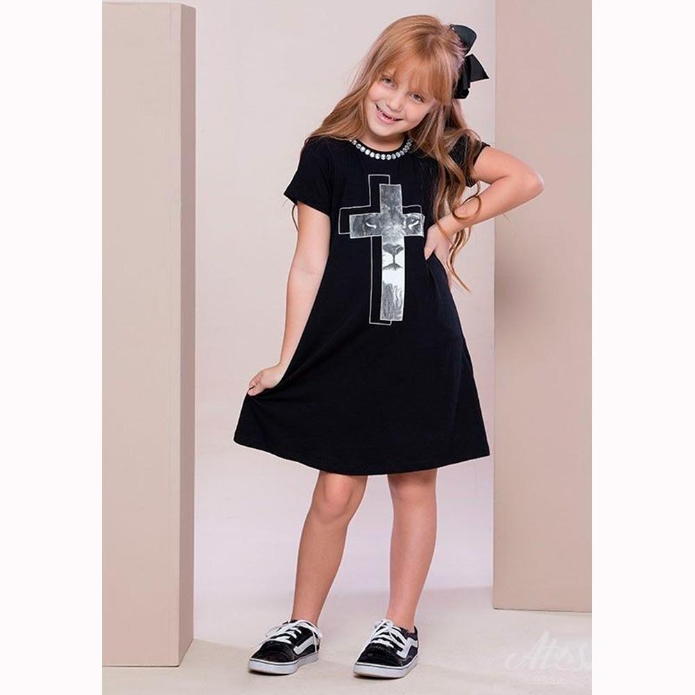 Vestido Infantil Preto Leão na Cruz - Soul da Paz