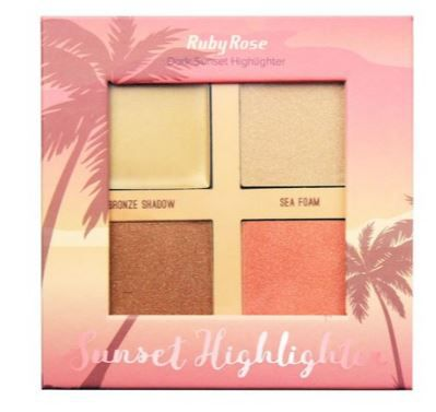 Iluminador Dark Sunset Highlighter 4 cores Ruby Rose