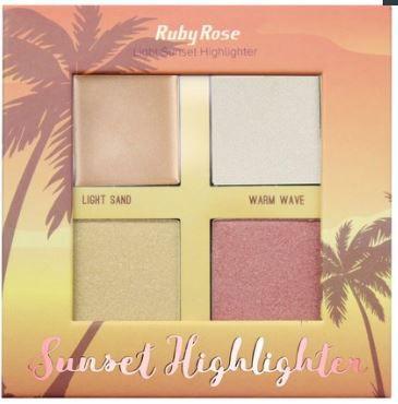 Iluminador Light  Sunset Highlighter 4 cores Ruby Rose