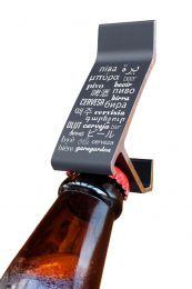 Abridor De Garrafa Parede Fixo Com Ímã Tsss Cerveja/Idiomas Preto