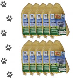 Kit 10 Mordedores Orelha Bovina Natural Pra Cachorro Dip Dog