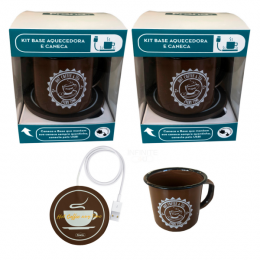 Kit 2 Aquecedores De Café Chá Usb E 2 Canecas Home Office Prana