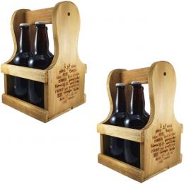 Kit 2 peças Engradado Caixa P/ Cervejas Gourmet Em Madeira Pinos