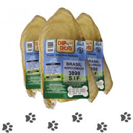 Kit 3 Mordedores Orelha Bovina Natural Pra Cachorros Dip Dog