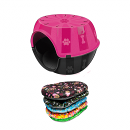 Kit Casa Gato e cachorro Toca c/ Almofada Paris Furacão Rosa