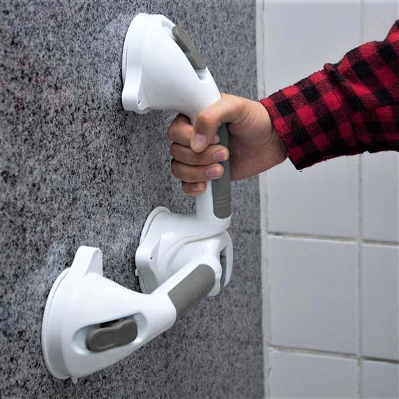 2 Barras de Apoio Banheiro Ventosa Tripla Reforçada Prana