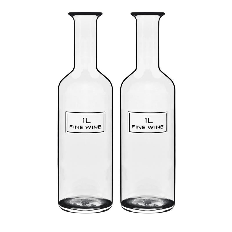 2 Pçs Garrafa Vidro Água Luigi Bormioli 1L Optima Fine Wine
