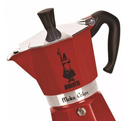 Cafeteira italiana vermelha moka 3 xícaras Bialetti