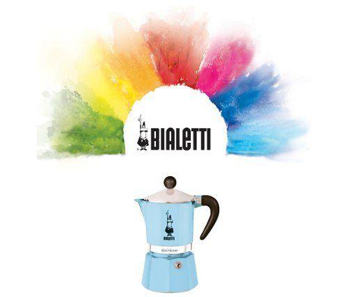 Cafeteira Italiana Rainbow Azul Claro 3 xícaras Bialeti