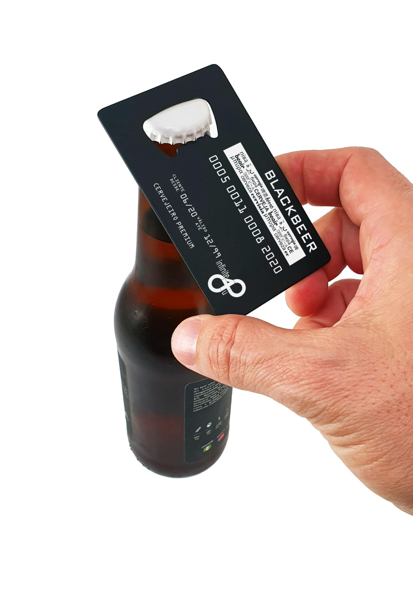 Abridor de Garrafa Cartão de Crédito Black Abra