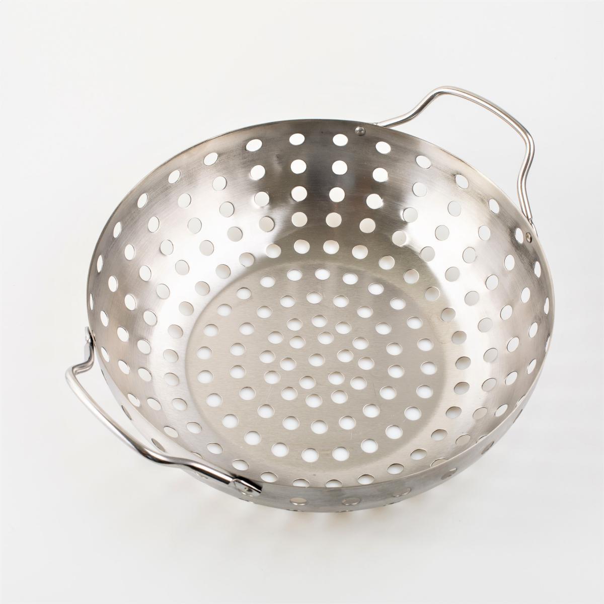 Assadeira Wok Aço Inox 28 cm para Grelhar em Churrasqueira Prana