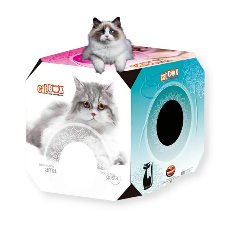 Brinquedo Caixa Cat Box Papelão Arranhar Adulto Furacão Pet