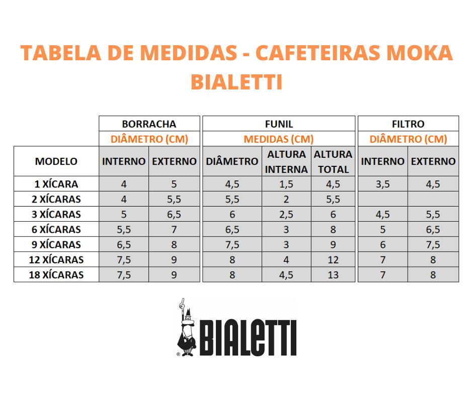 Cabo Cafeteira Italiana Bialetti 3 Xicaras e 3 Borrachas de Vedação Bialetti