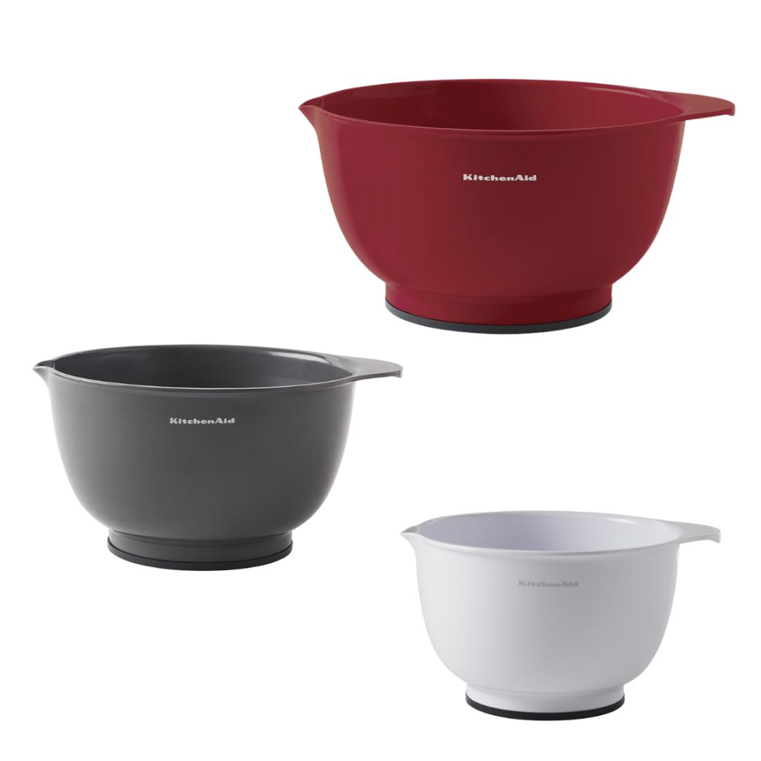 Conjunto 3 Tigelas Bowls Vermelho Branco Cinza KitchenAid