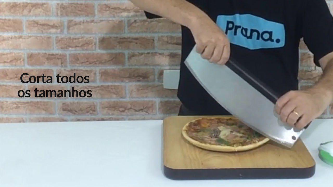 Cortador De Pizza Aço Inox Apoio em Madeira 35 cm Prana