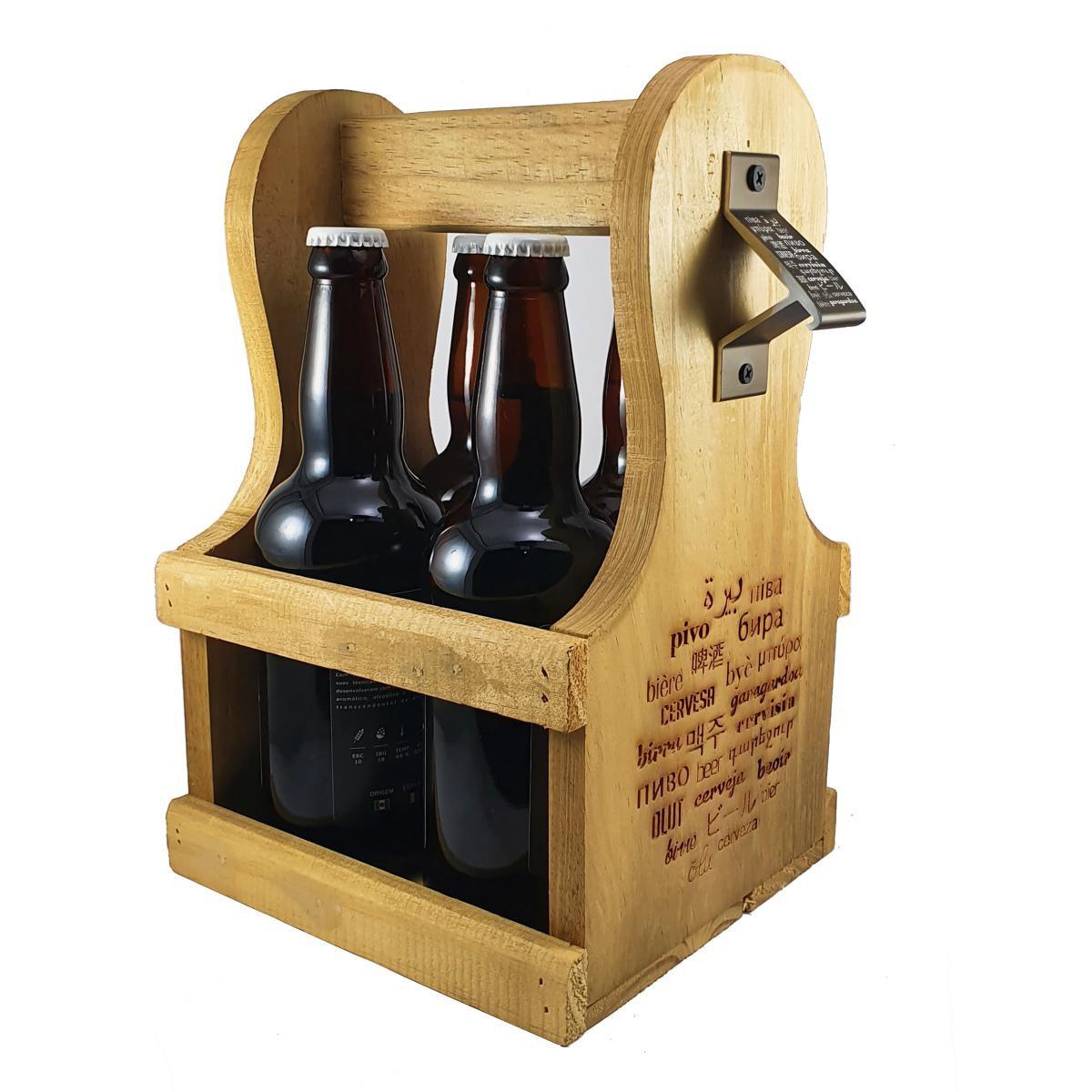 Engradado Caixa p/ Cervejas Gourmet em Madeira com Abridor c/ Ímã