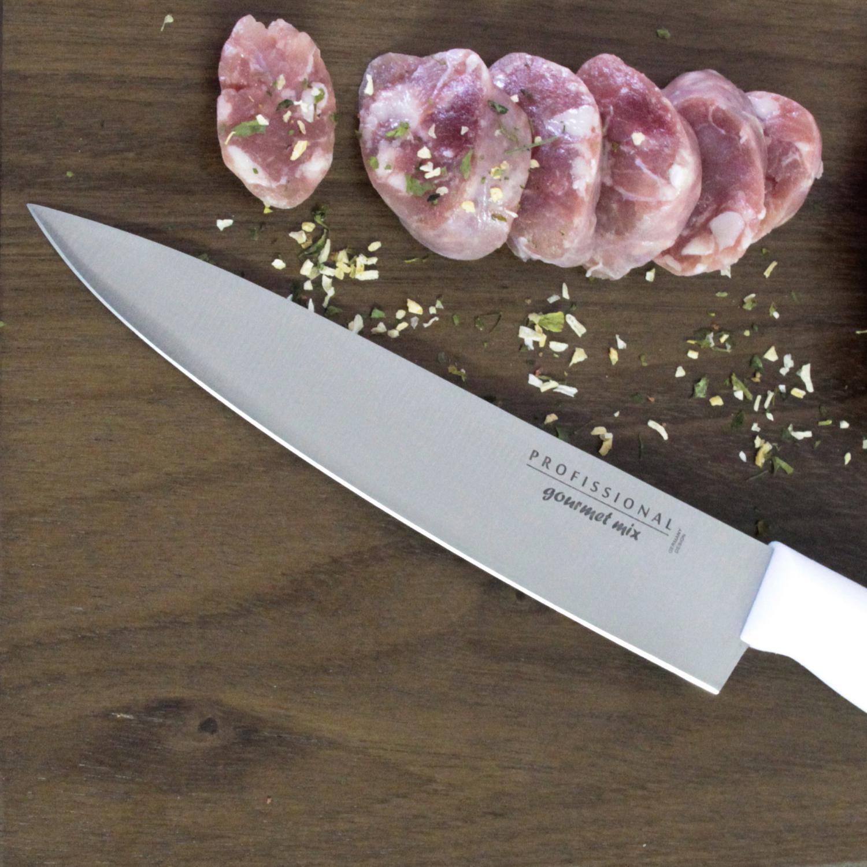 Faca Chef Profissional em Aço Inox 8' 32 cm Gourmet Mix