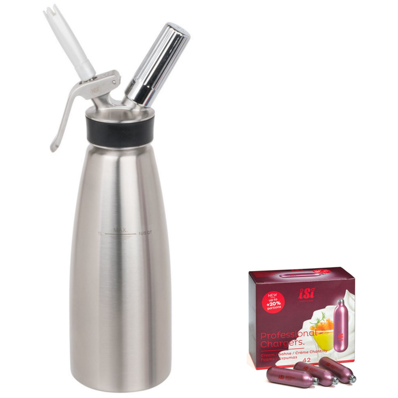 Garrafa Chantilly Cream Profi Whip 0,5 L  e Kit 10 Cápsulas Isi 8,4 g