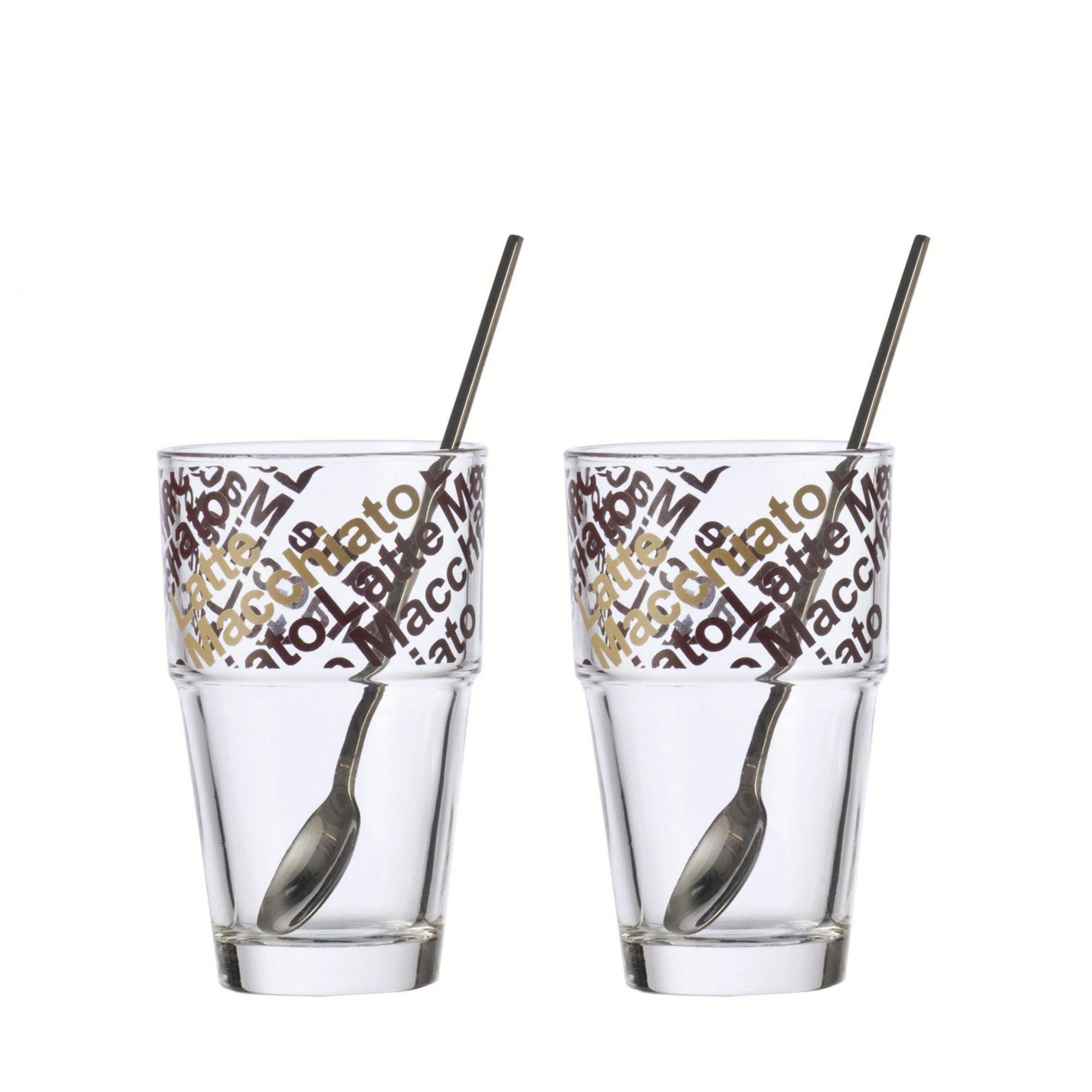 Jogo de Copos 2 peças e 2 Colheres Leonardo 410 ml para Cappuccino Café com Leite