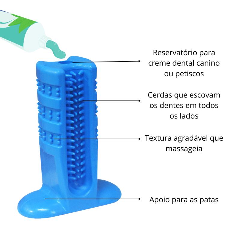 Kit 2 Escovas Dental Canina Mordedor Dentes Pino Furacão Pet