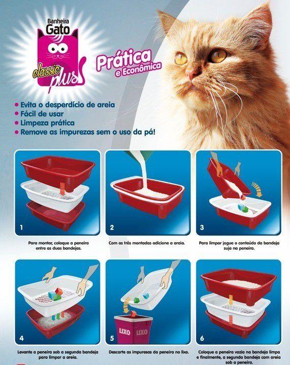 Kit 2 peças Caixa de Areia Banheiro Higiênica Gatos 3 peças Furacão Pet