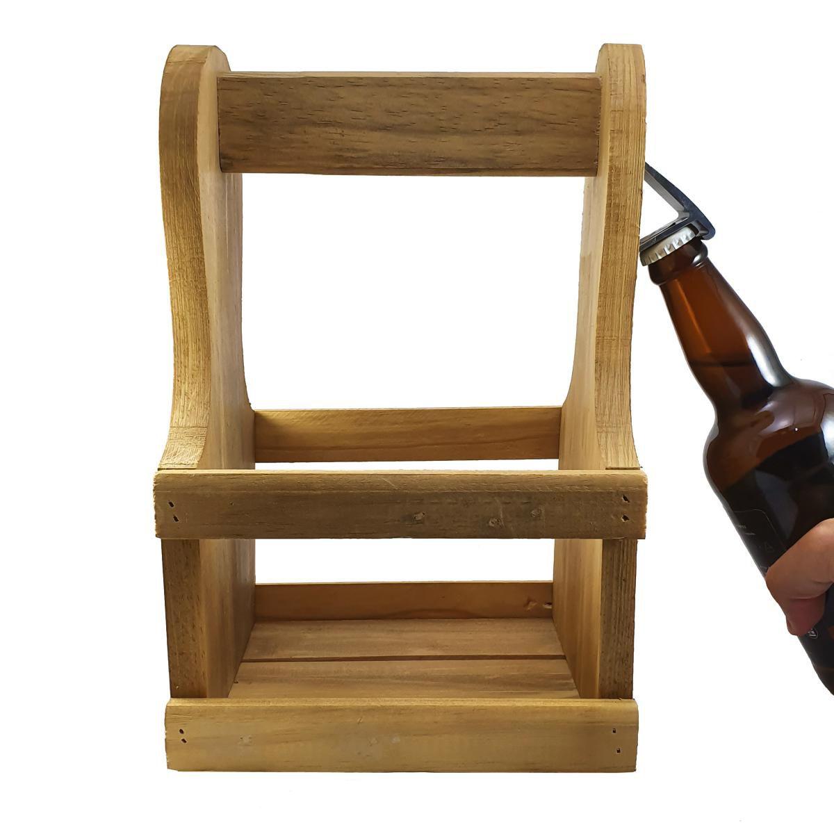 Kit 2 Peças - Engradado Caixa p/ Cervejas Gourmet em Madeira com Abridor c/ Ímã