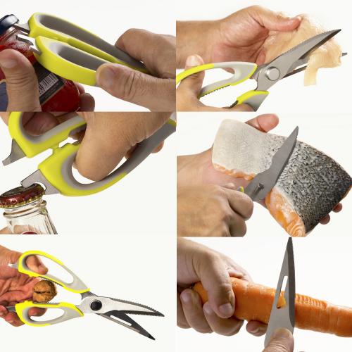 KIT 2 Tesouras de Cozinha 6 funções Trinchante Aço Inox Prana