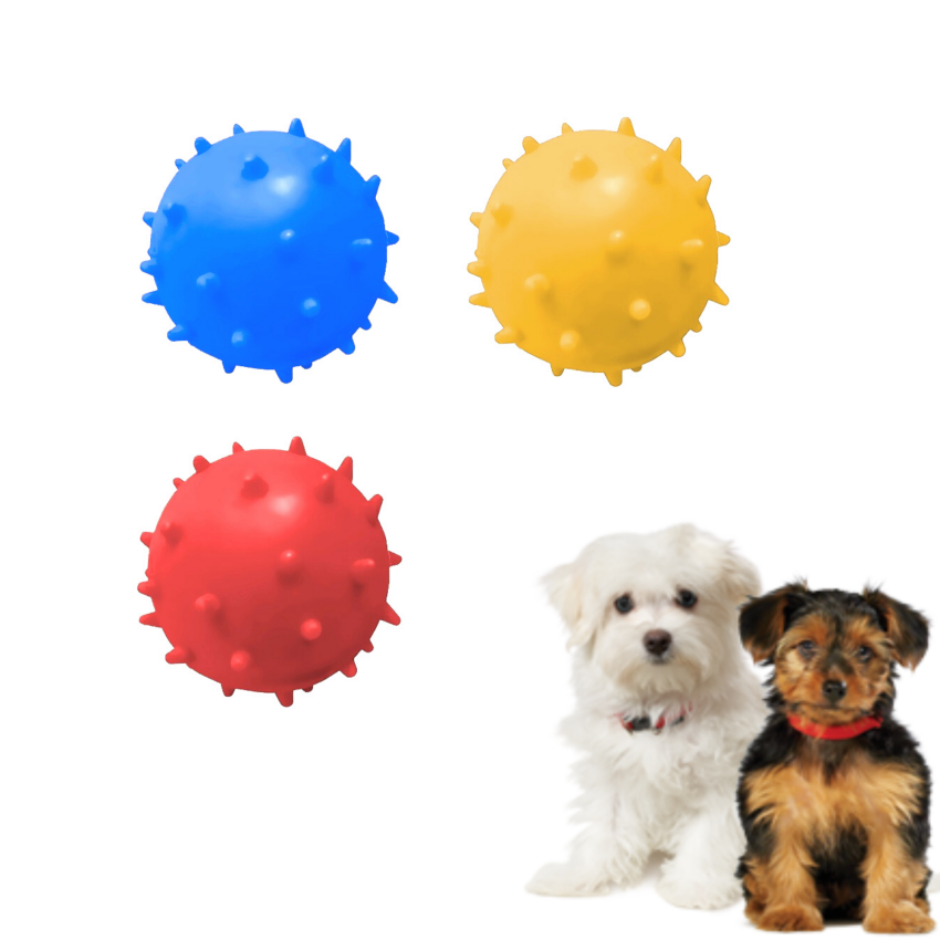 Kit 3 Bolas Maciças Mamona Cães 45mm Sortida Furacão Pet