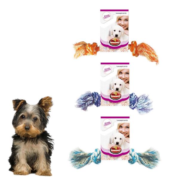 Kit 3 Brinquedos Dental Bone Mini Cães Corda Furacão Pet