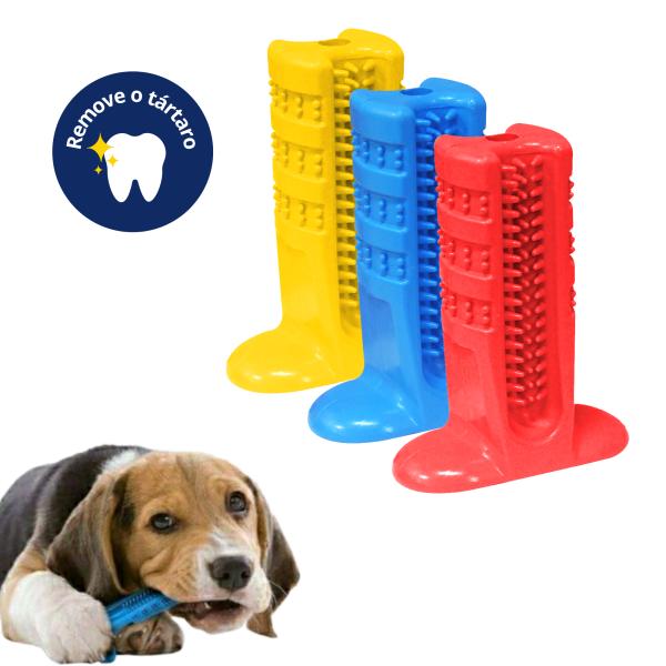 Kit 3 Escovas Dental Canina Mordedor Dentes Pino Furacão Pet