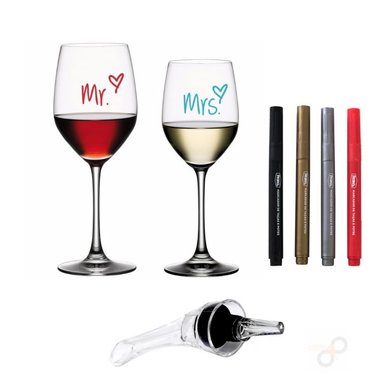 Kit 4 Canetas Marcadoras para Taças e Aerador de Vinhos Prana