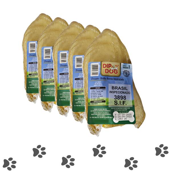 Kit 5 Mordedores Orelha Bovina Natural Pra Cachorros Dip Dog