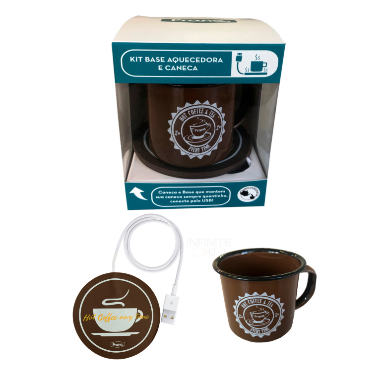 Kit Aquecedor de Café Chá USB e Caneca Home Office Prana