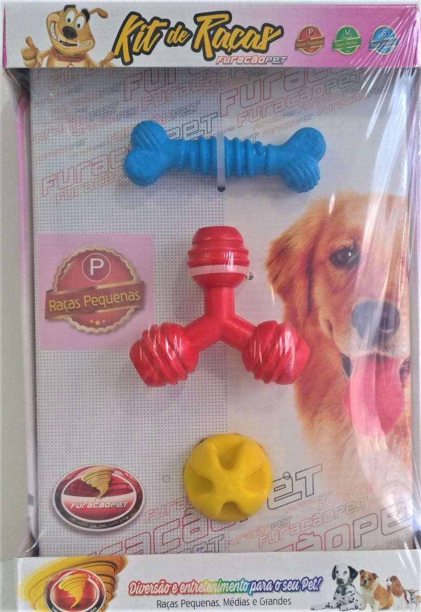 Kit Brinquedo Cachorro 3 Peças Cores Sortidas P Furacão Pet