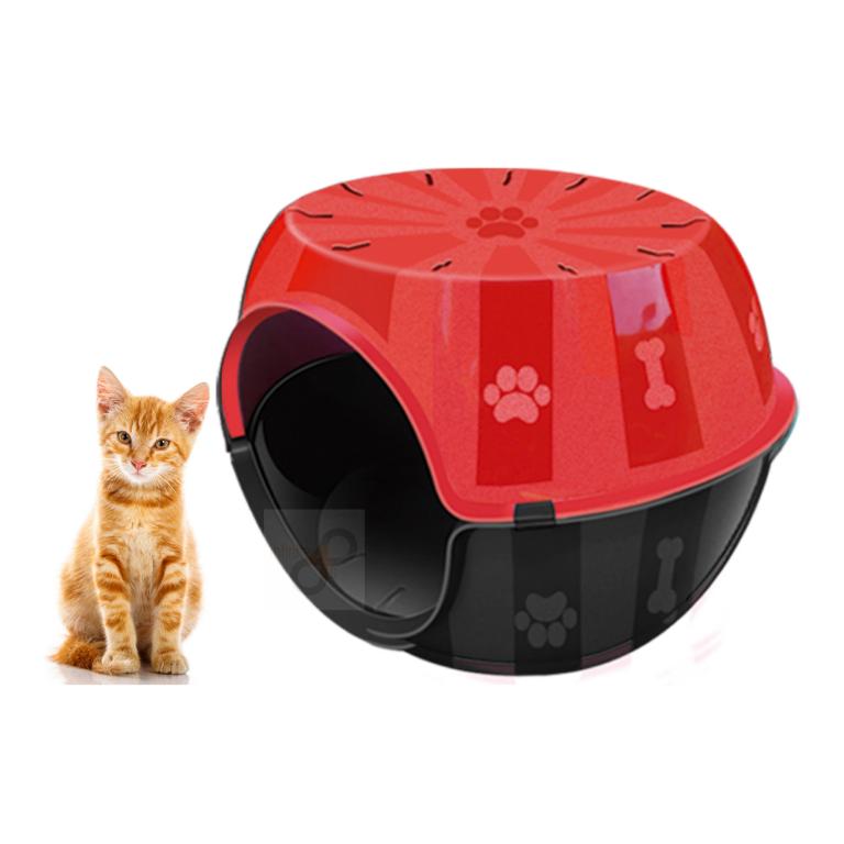 Kit Casa Gato e cachorro Toca c/ Almofada Paris Furacão Verm