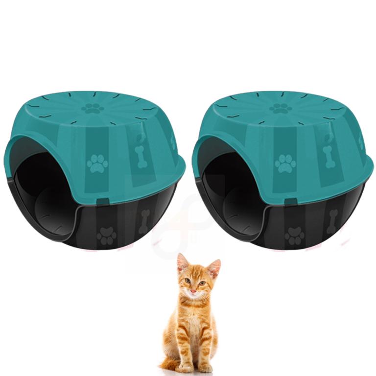 Kit Casa para Gato Cachorro Casinha Toca Furacão Pet 2 Peças Verde