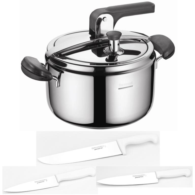 Kit Panela de Pressão Inox 5L Barazzoni 3 Facas 6 /8 /10' Profissional Gourmet Mix